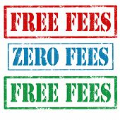 image of zero  - Set of grunge rubber stamps with text Free Fees and Zero Fees - JPG
