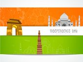 picture of indian independence day  - Creative floral greeting card design decorated with famous monuments for Indian Independence Day celebration - JPG