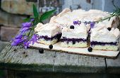 picture of sponge-cake  - Sponge cake with blueberries on an old wooden table - JPG