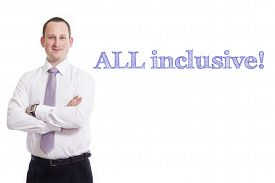 pic of all-inclusive  - All inclusive Young businessman with blue text isolated on white background - JPG