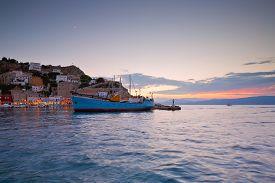 foto of hydra  - Boats mooring along a pier in harbour of Hydra - JPG