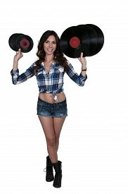 pic of lps  - Beautiful woman with vintage 45 vinyl records and record album lps - JPG