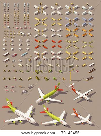 Vector isometric low poly transports