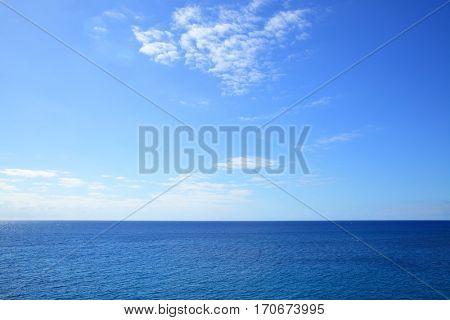 poster of Atlantic ocean - beautiful seascape sea horizon and blue sky, natural photo background