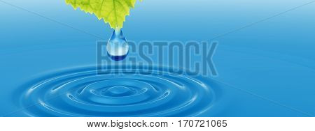 poster of Concept or conceptual clean spring water or dew drop falling from a green fresh leaf on 3D illustrat