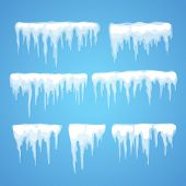 Vector icicle and snow elements clipart. Different snow cap  poster