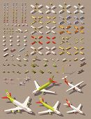 Vector isometric low poly transports set. Cars, trucks, tractors, airplanes, helicopters and other i poster