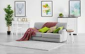Modern living room with grey couch poster