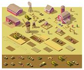 Vector isometric low poly farm elements. Farm buildings, vehicles, fields with plants, fences and ot poster