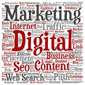 Concept or conceptual digital marketing seo or traffic square word cloud isolated on background meta poster