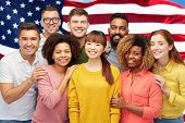 diversity, race, ethnicity and people concept - international group of happy smiling men and women o poster