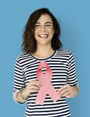 Hands Show Pink Ribbon Breast Cancer Awareness poster