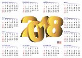 2018 Calendar English Horizontal Usa poster