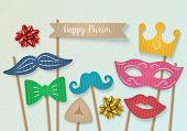 Purim Holiday Concept With Cardboard Carnival Mask, Mustache And Crown. Realistic Vector Illustratio poster