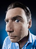picture of voyeur  - caucasian man observe suspicious  portrait isolated studio on black background - JPG