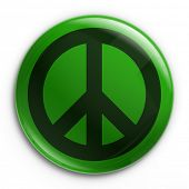 image of peace-sign  - 3d rendering of a badge with the peace sign - JPG