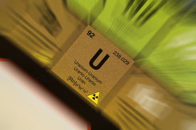 stock photo of periodic table elements  - A zoomed in shot of Uranium from the periodic tables - JPG