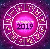 Zodiac Wheel With Zodiac Signs Set, Astrological Horoscope 2019 Design Cover Brochure, Predictions F poster