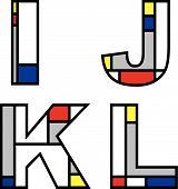 Mondrian Alphabets Ijkl (Vector) poster