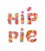 Colorful hippie lettering print with colorful abstract flowers, fly agaric and hippy peace symbol fo poster