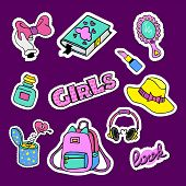 Fashion Patch Badges With Book, Bow, Journal, Bonnet, Pomade, Hearts And Other. Large Set Of Girlish poster