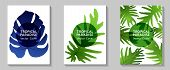 Tropical Paradise Leaves Vector Covers Set. Cool Floral A4 Page Design. Exotic Tropic Plant Leaf Vec poster