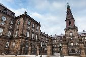 Christiansborg Palace Is A Palace And Government Building On The Islet Of Slotsholmen In Central Cop poster
