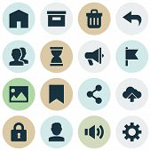 User Icons Set With Sound, Archive, Arrow And Other Mark  Elements. Isolated  Illustration User Icon poster
