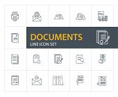 Documents Line Icon Set. Agreement, Certificate, Application. Paperwork Concept. Can Be Used For Top poster