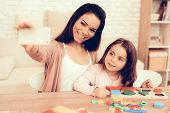 Mother Teaches Daughter. Educational Games. Learning Child At Home. Cubes And Puzzles. Child Develop poster
