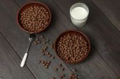 Whole Grain Breakfast. Chocolate Balls With Milk poster