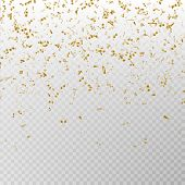 Golden Glitter Confetti Vector. Carnaval Paper Tinsel Texture Isolated On Background. Party Confetti poster