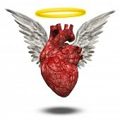 Angelic or innocent heart with golden halo. 3D rendering poster