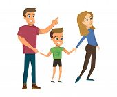 Vector Illustration Cartoon Happy Family. Father Holding His Son Hand Points His Hand Side. Father A poster