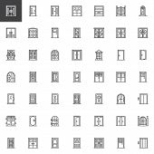 Types Of Doors Outline Icons Set. Linear Style Symbols Collection, Line Signs Pack. Vector Graphics. poster