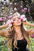 Spring Girl In Blooming Garden. Summer Girl And Sensual Moment. Beauty Woman Outdoors In Blooming Tr poster
