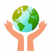 Earth Day. Human Hands Holding A Planet. Conceptual Image About The Protection Of The Planet And Its poster