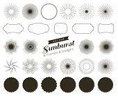 Collection Of Hand Drawn Retro Sunburst, Bursting Rays Design Elements. Frames, Badges poster