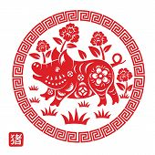 Chinese Zodiac Sign Year Of Pig,red Paper Cut Pig,happy Chinese New Year 2019 Year Of The Pig,chines poster