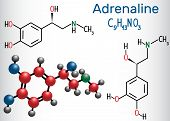 Adrenaline (epinephrine) Molecule .  It Is A Hormone, Neurotransmitter, And Medication. Structural C poster