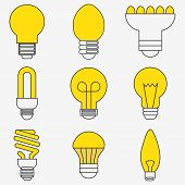 Set Of Light Bulb Icons In Modern Thin Line Style. High Quality Black Outline Bulb Symbols For Web S poster
