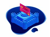 Isometric Protection Of Bank Cards, Bank Service Security, Safe Anti-fraud Banking poster