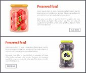 Preserved Vegetables Banners, Canned Food. Tomatoes With Bayleaves In Marinade And Greek Olives Insi poster