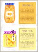 Canned Oranges And Pineapple Slices In Jars Banners Set. Preserved Fruits Inside Glass Containers Be poster