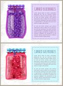 Canned Blueberries And Raspberries In Jars Banners Set. Preserved Berries Inside Glass Containers Be poster