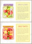Canned Tomatoes Pickled Vegetables Mix In Glass Jars Vector Illustration. Zucchini And Cucumbers, On poster
