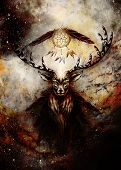 Sacred Ornamental Deer Spirit With Dream Catcher Symbol And Feathers In Cosmic Space. poster