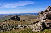 Beautiful Panoramic View Of The Ural Mountains. Stone Placer On The Plateau Of The Ural Mountains. R poster
