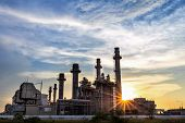 Gas Turbine Electrical Power Plant At Dusk With Twilight poster