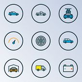Automobile Icons Colored Line Set With Carwash, Pickup, Speedometer And Other Accumulator Elements.  poster